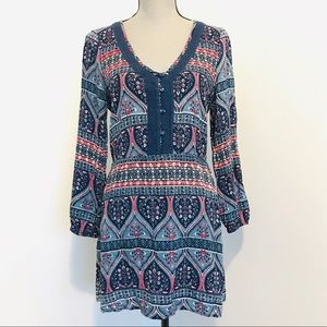 Roxy Bohemian Print Long Sleeve Dress
